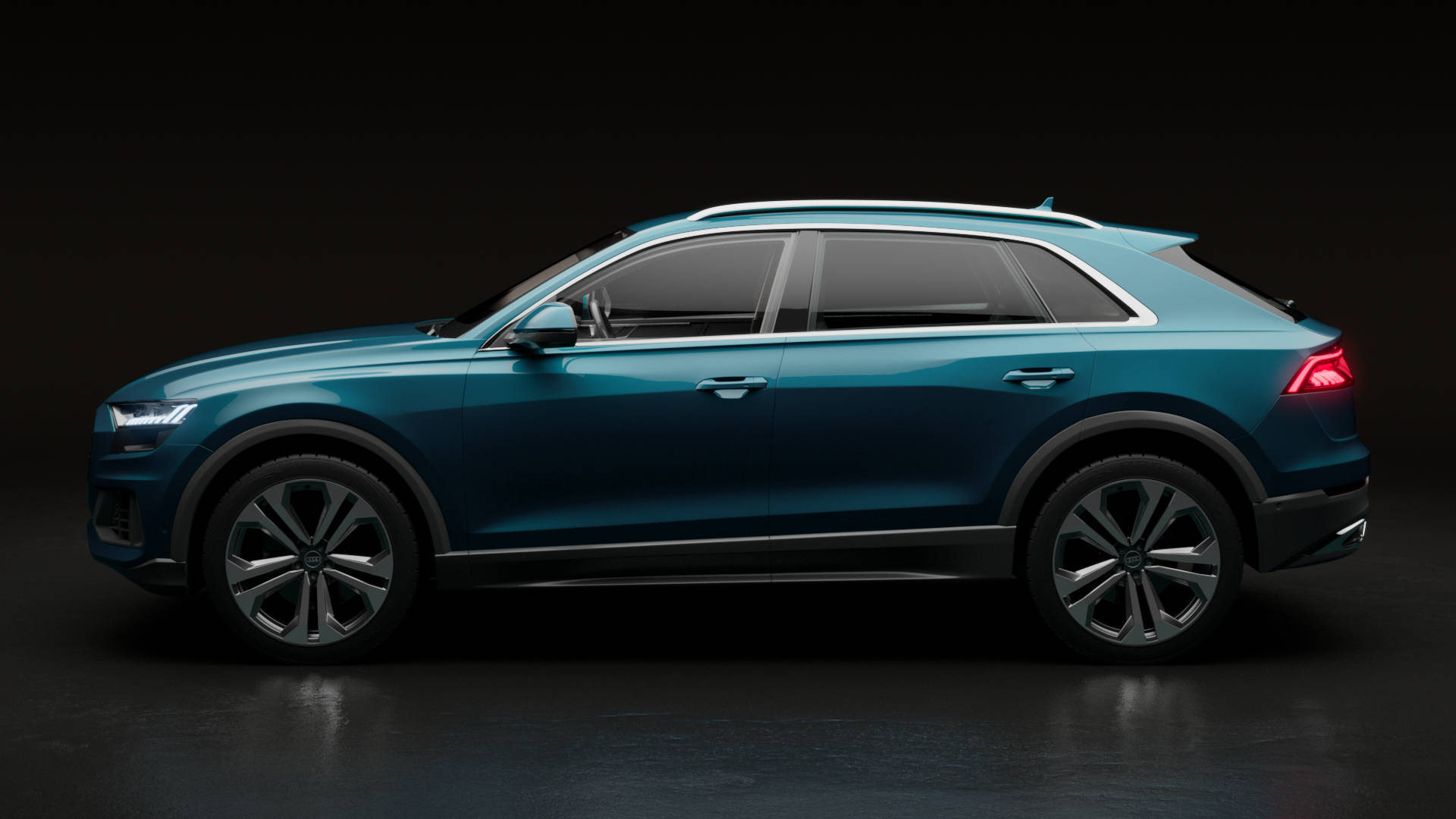 Galaxy blue Audi Q8 product shot side view.